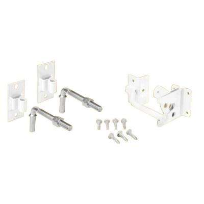 White Steel Flat Wall Fence Gate Hardware Kit