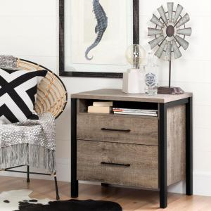 South shore munich 2 drawer weathered oak nightstand 10493 - Table de chevet faible largeur ...