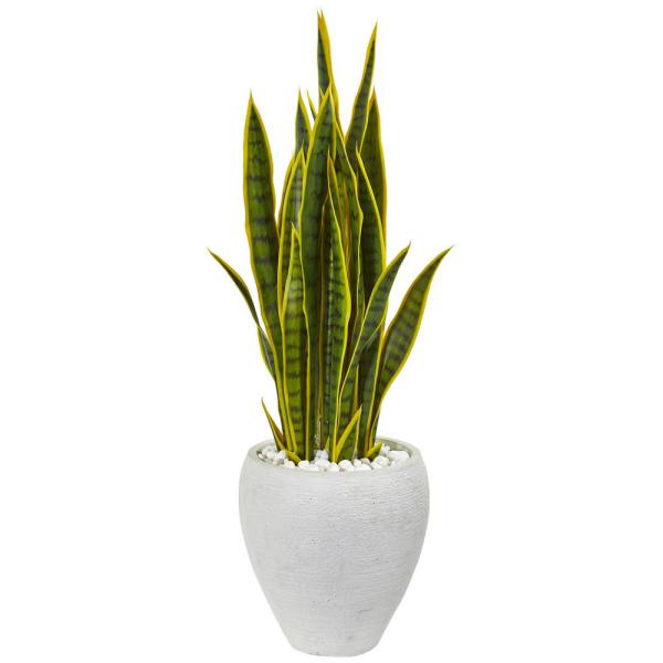 Nearly Natural Indoor 33 Sansevieria Artificial Plant in White Planter