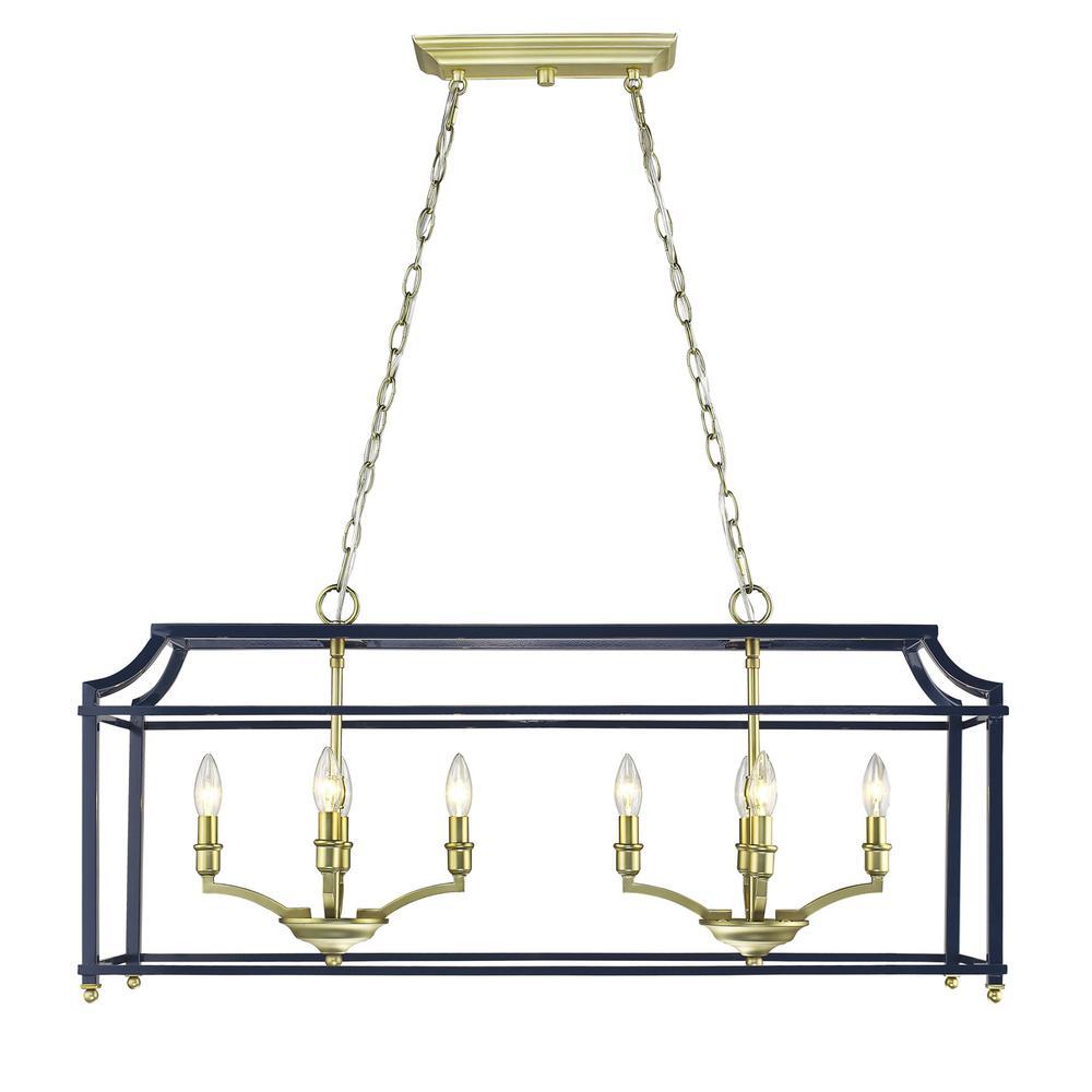 Golden Lighting Leighton 8-Light Satin Brass and Navy Blue Pendant Light