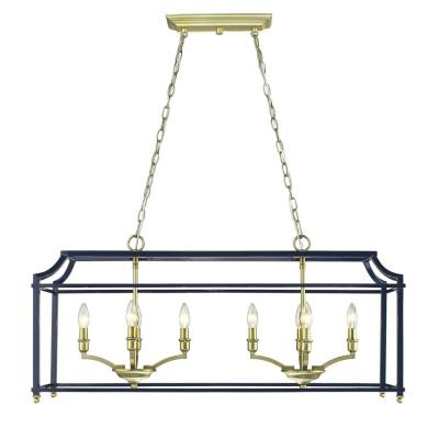Leighton 8-Light Satin Brass and Navy Blue Pendant Light