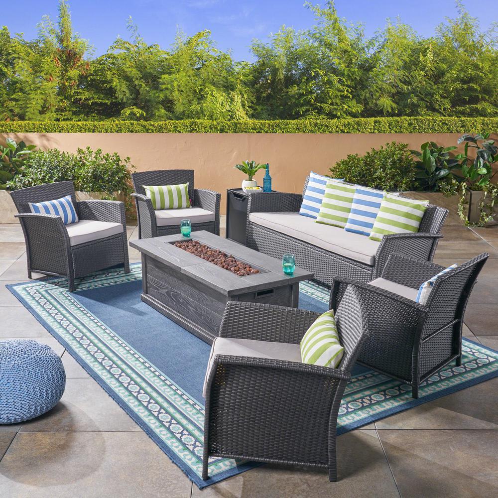 Noble House St. Lucia Gray 7-Piece Wicker Patio Fire Pit ...
