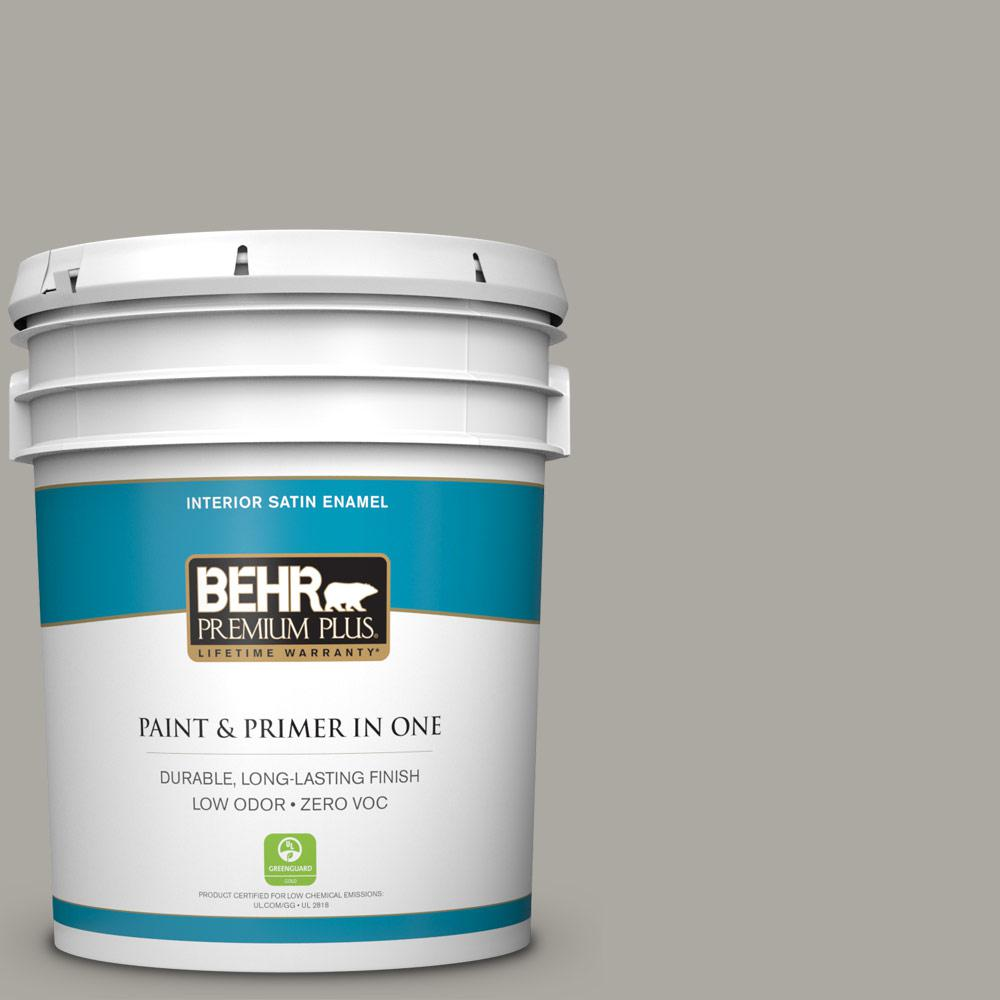 5 gal. #PPU24-10 Downtown Gray Zero VOC Satin Enamel Interior Paint