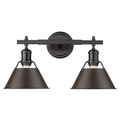 Orwell 4.875 in. 2-Light Black Vanity Light with Rubbed Bronze Shade