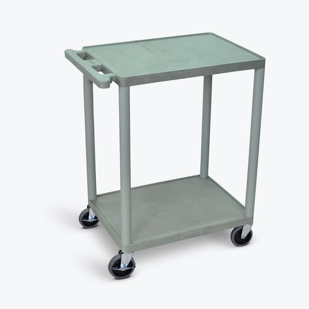 HE 24 in. W x 18 in. D x 33.5 in. H, 2-Shelf Utility Cart in Gray