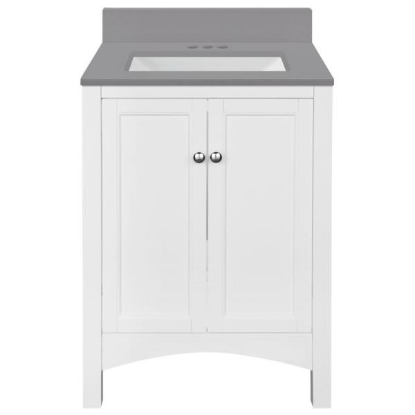 Haven 25 in. W x 22 in. D Bath Vanity in White with Engineered Stone Vanity Top in Slate Grey with Trough White Basin