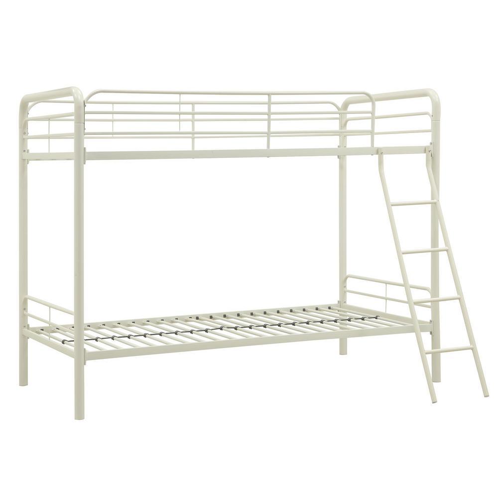 Dhp White Twin Metal Bunk Bed White Finish Elen