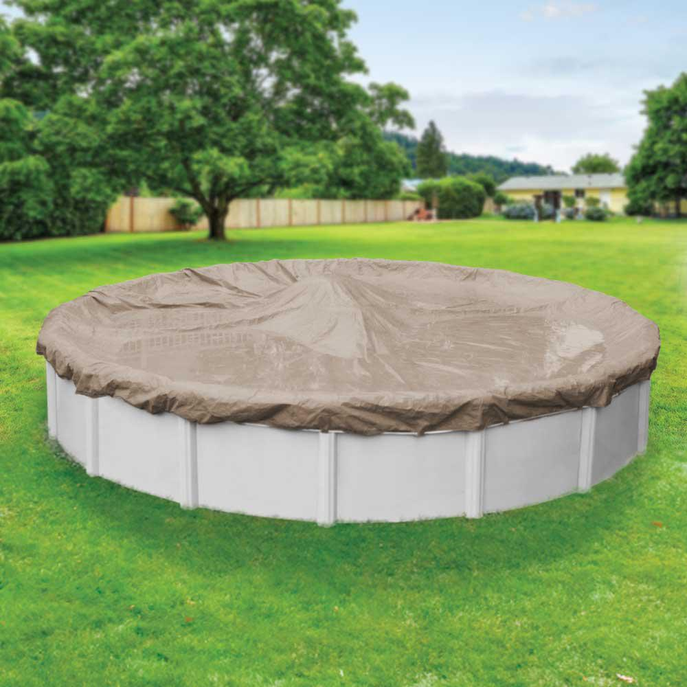 Pool Mate Sandstone 15 ft. Round Sand Solid Above Ground Winter Pool Cover