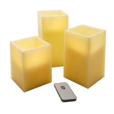 Square Flameless Candle Set (Set of 3)