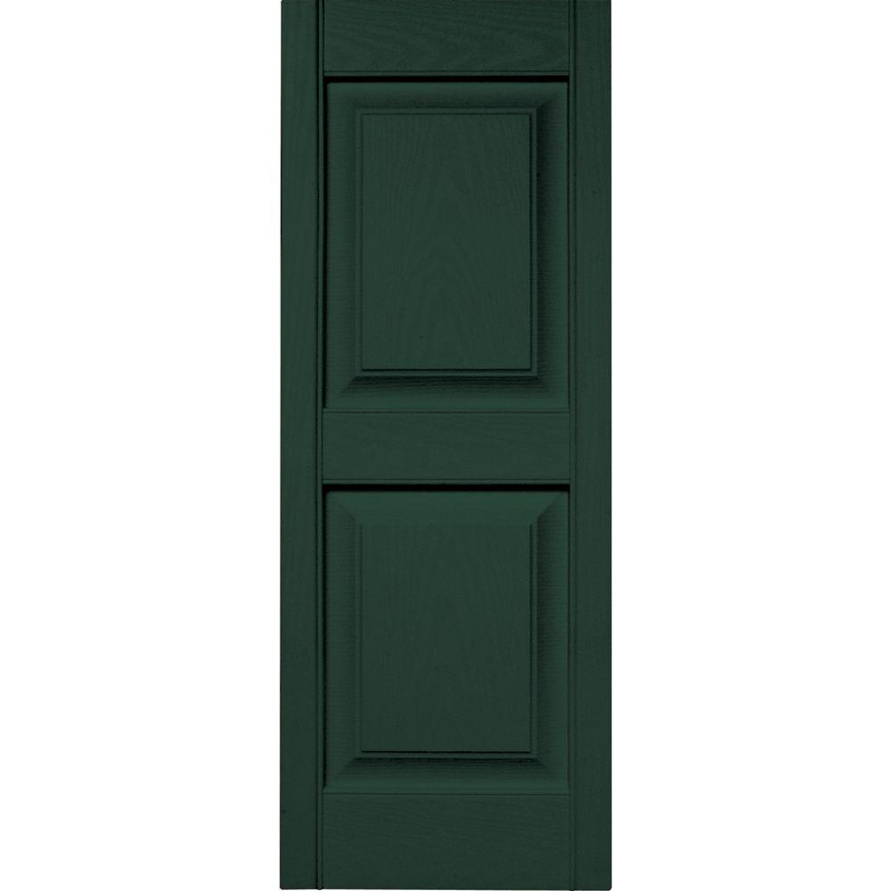15 in. x 39 in. Raised Panel Vinyl Exterior Shutters Pair in #122 Midnight Green