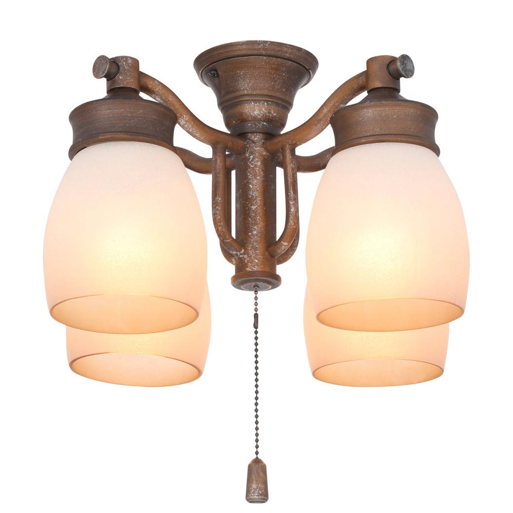 Casablanca 4-Light Aged Bronze Ceiling Fan Fixture with Tea Stain Glass