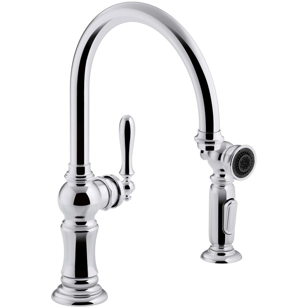 Kohler Artifacts Single Handle Kitchen Faucet With Swing Spout And Side Sprayer In Polished Chrome K 99262 Cp The Home Depot