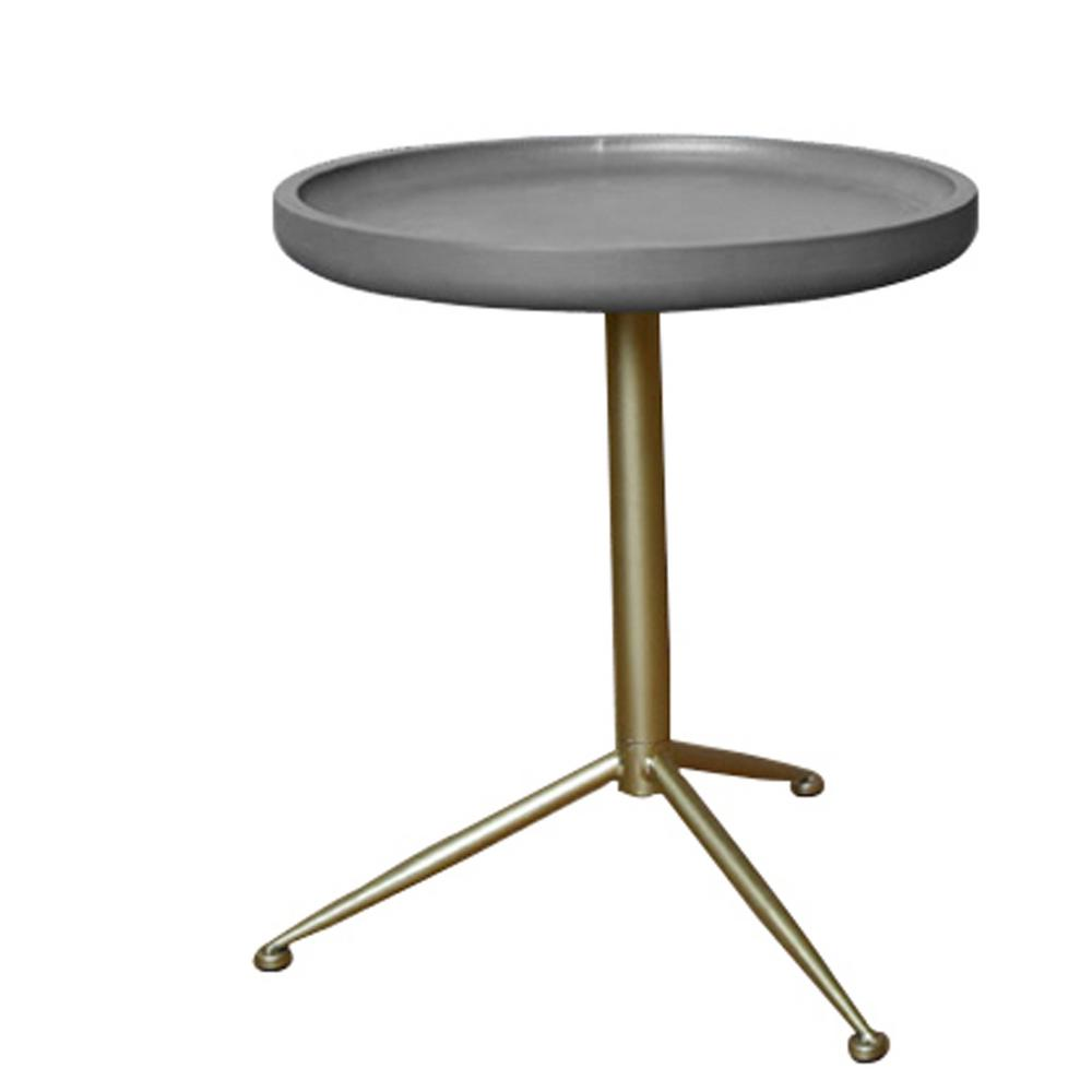 Grey Wood End Table With Gold Base