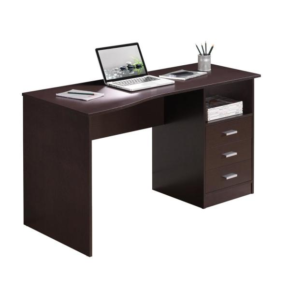 52 in. Rectangular Wenge 3 Drawer Computer Desk with Built-In Storage