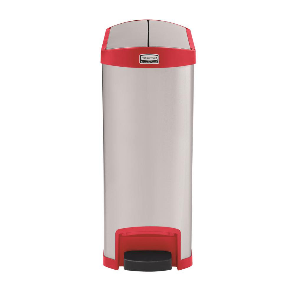 Slim Jim Step-On 13 Gal. Red Stainless Steel End Step Trash