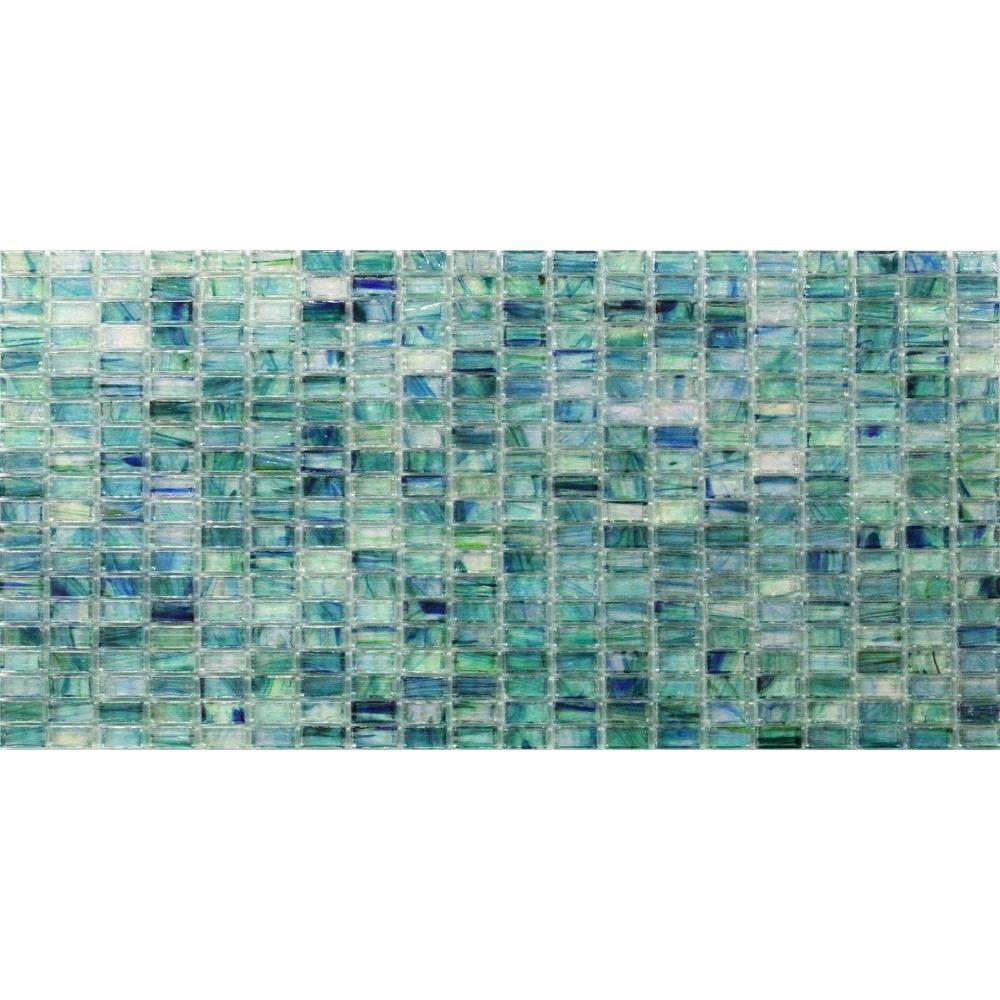 Breeze Caribbean Ocean Stained Glass Mosaic Floor and Wall Tile -