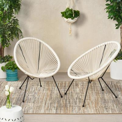 Ansor Black Metal Outdoor Lounge Chair in White (2-Pack)