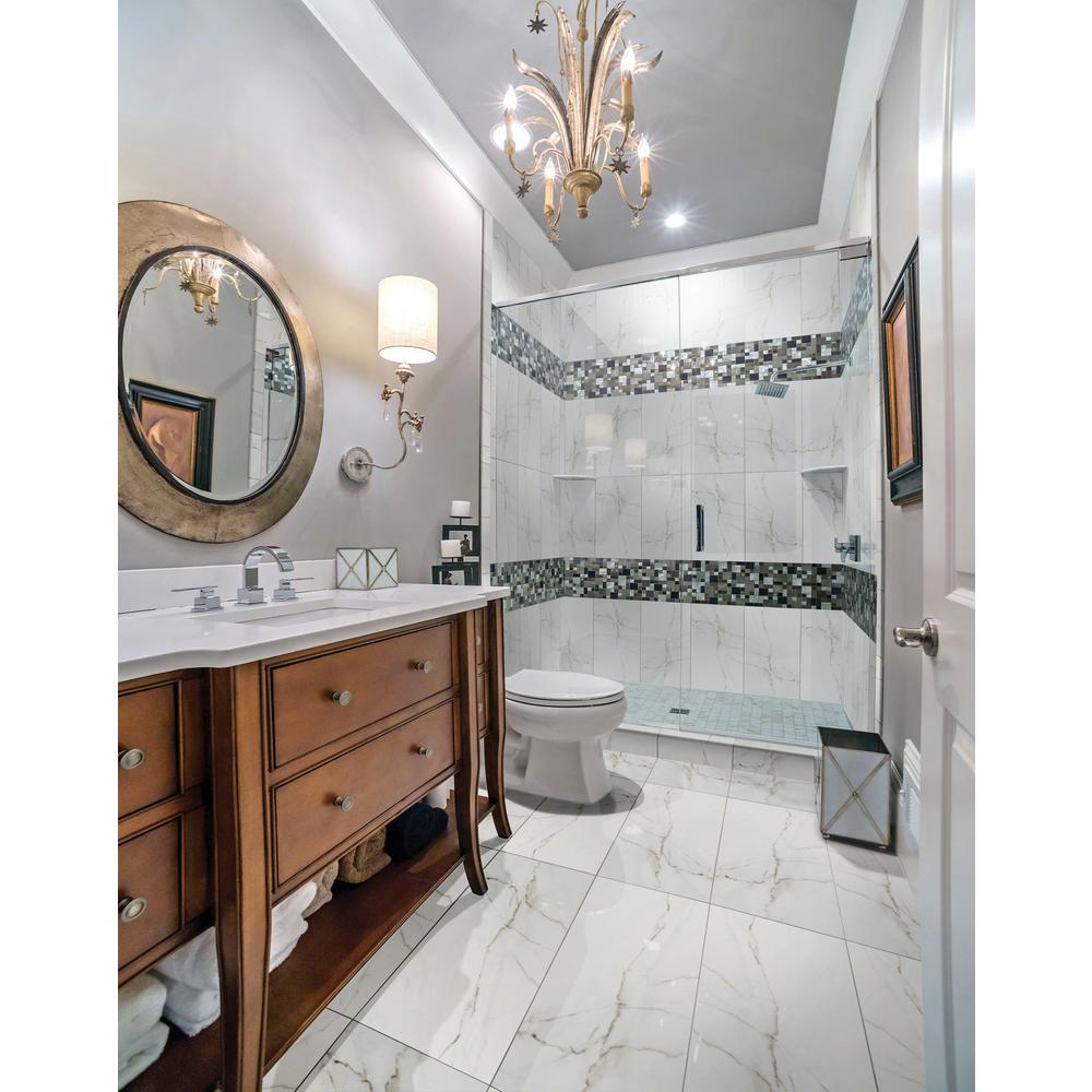 Msi Carrara Bianco 12 In X 24 Glazed Porcelain Floor And Wall Tile 2 Sq Ft