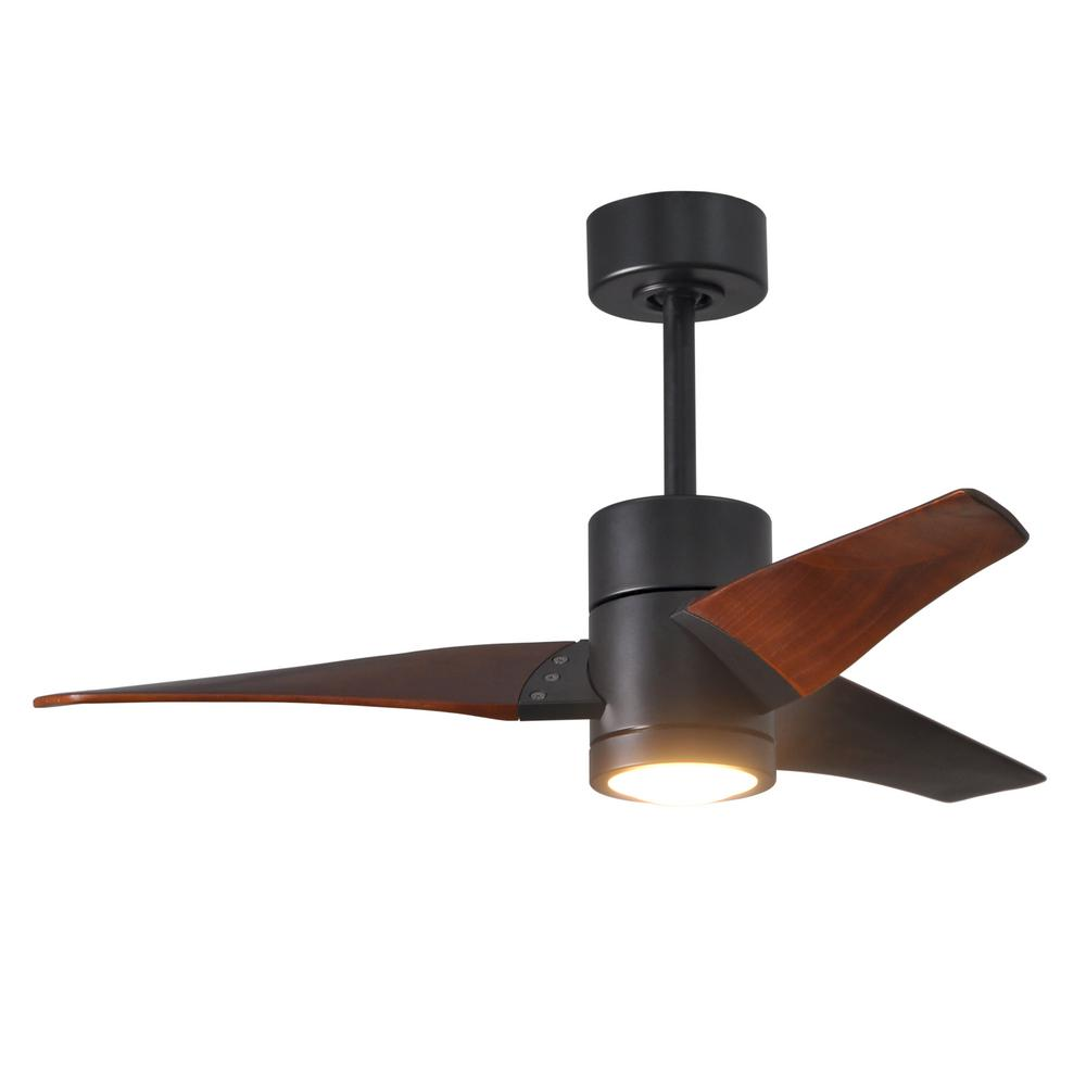 Super Janet 42 in. LED Indoor/Outdoor Damp Matte Black Ceiling Fan