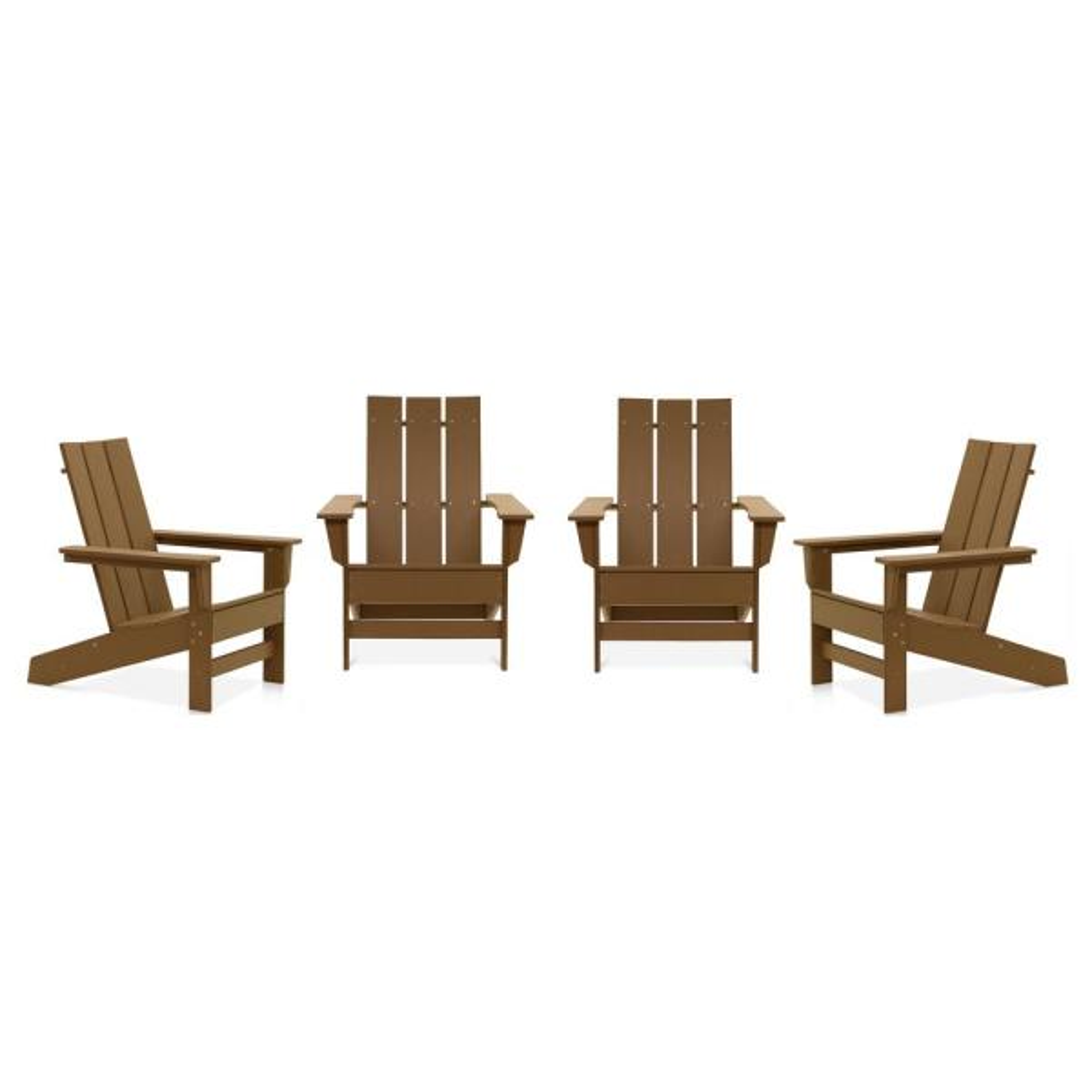 Aria Teak Recycled Plastic Modern Adirondack Chair (4-Pack)