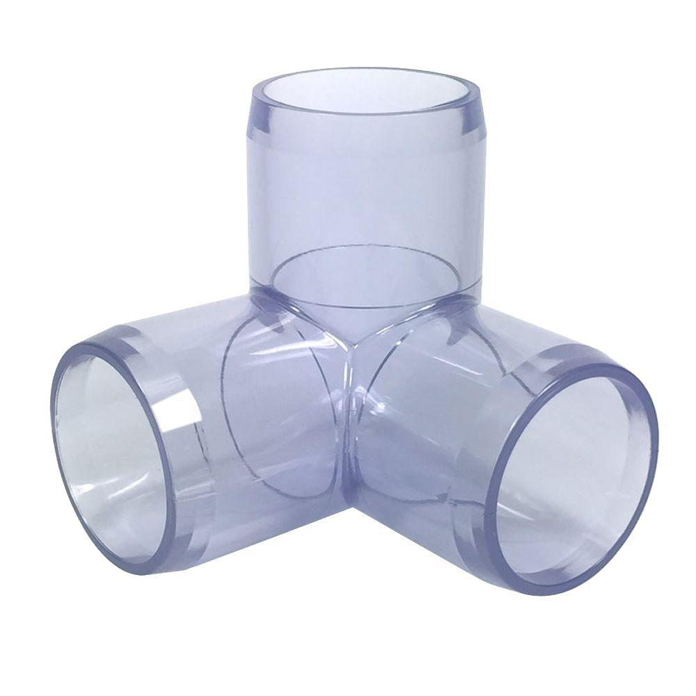 1 in. Furniture Grade PVC 3-Way Elbow in Clear
