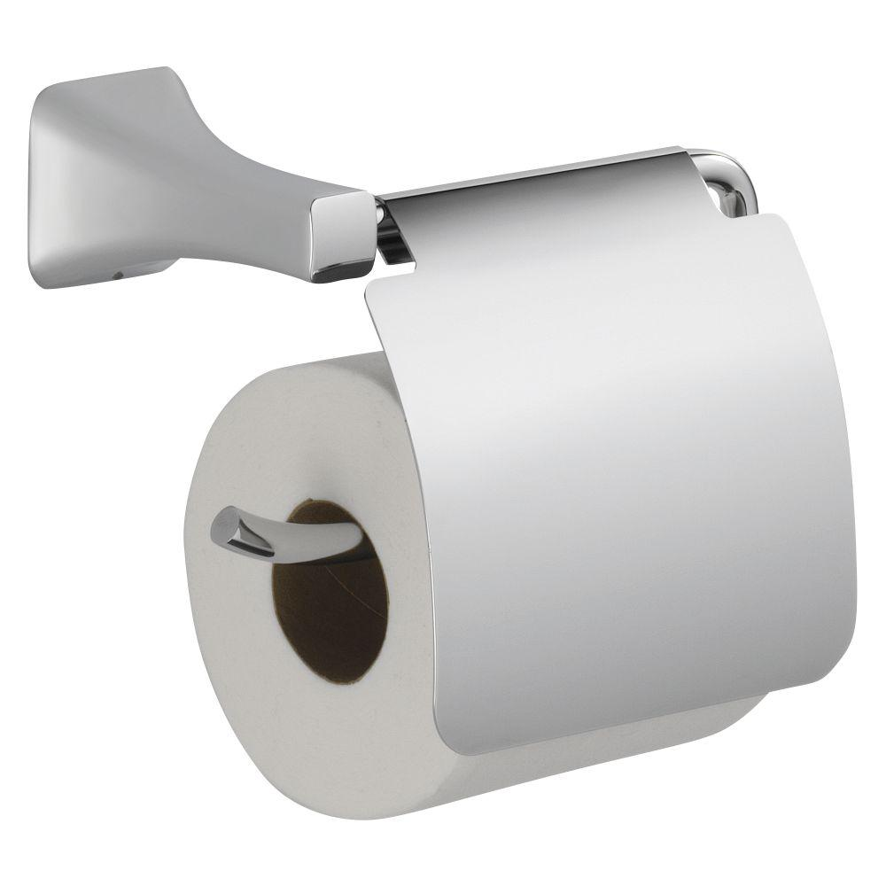 Delta Tesla Single Post Toilet Paper Holder With Removable Cover In Chrome