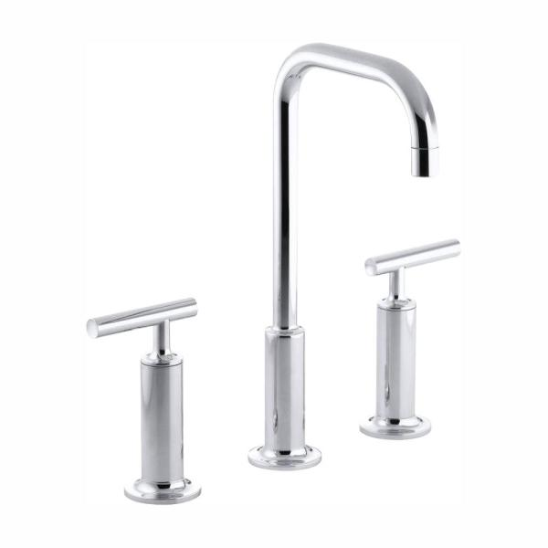 Purist 8 in. Widespread 2-Handle Mid-Arc Bathroom Faucet in Polished Chrome with High Gooseneck Spout
