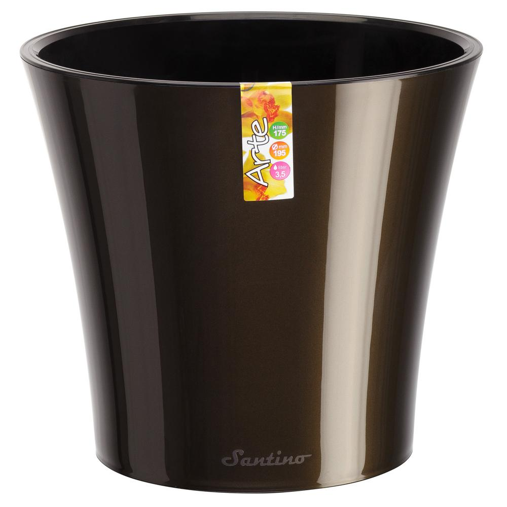 Arte 6.5 in. Black-Gold/Black Plastic Self Watering Planter