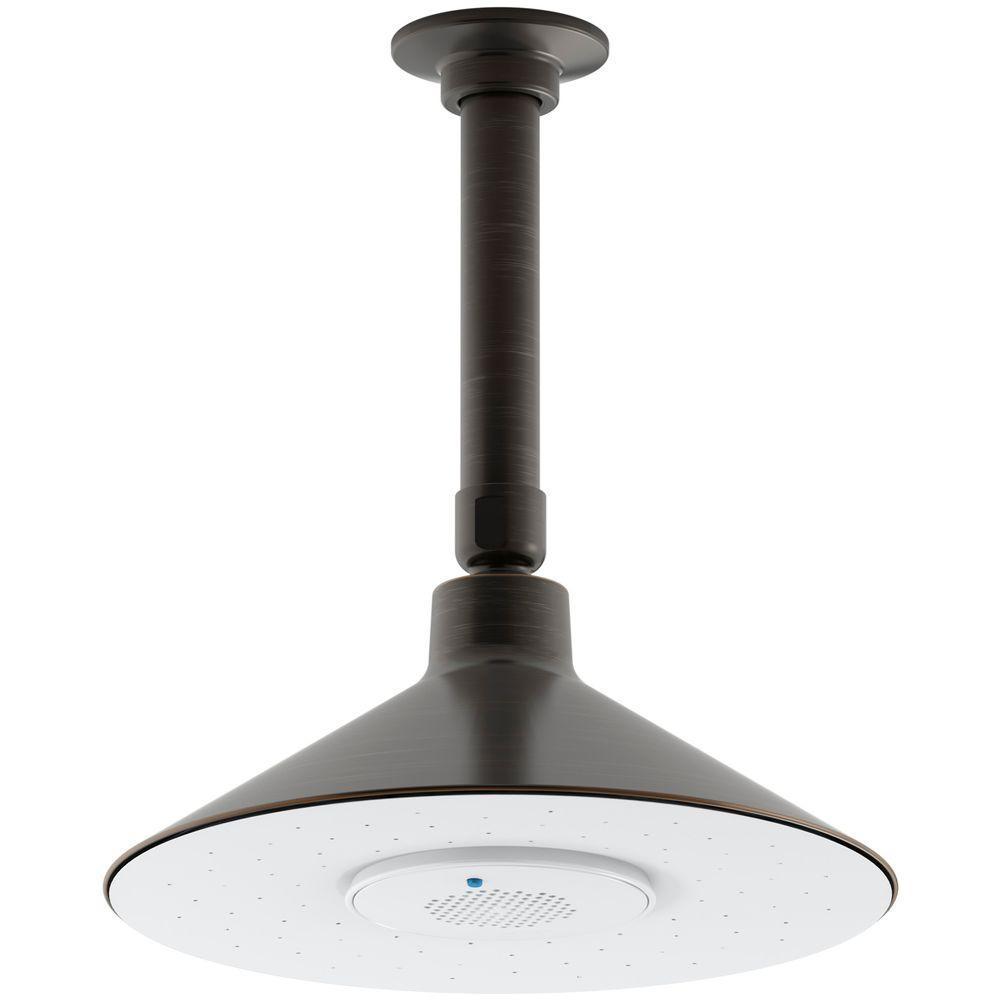 KOHLER Moxie 1 Spray 3.125 In. Rainhead With Wireless Speaker Showerhead In  Oil Rubbed