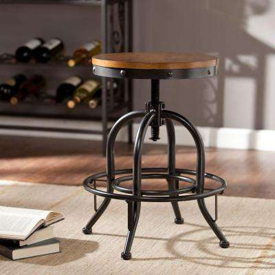 Christopher Industrial Adjustable Height Black Bar Stool
