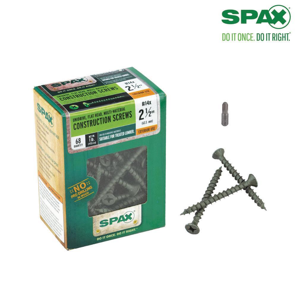#14 x 2-1/2 in. Philips Square Flat-Head Full Thread High Corrosive Resistance Coated Multi-Material Screw (68 per Box)