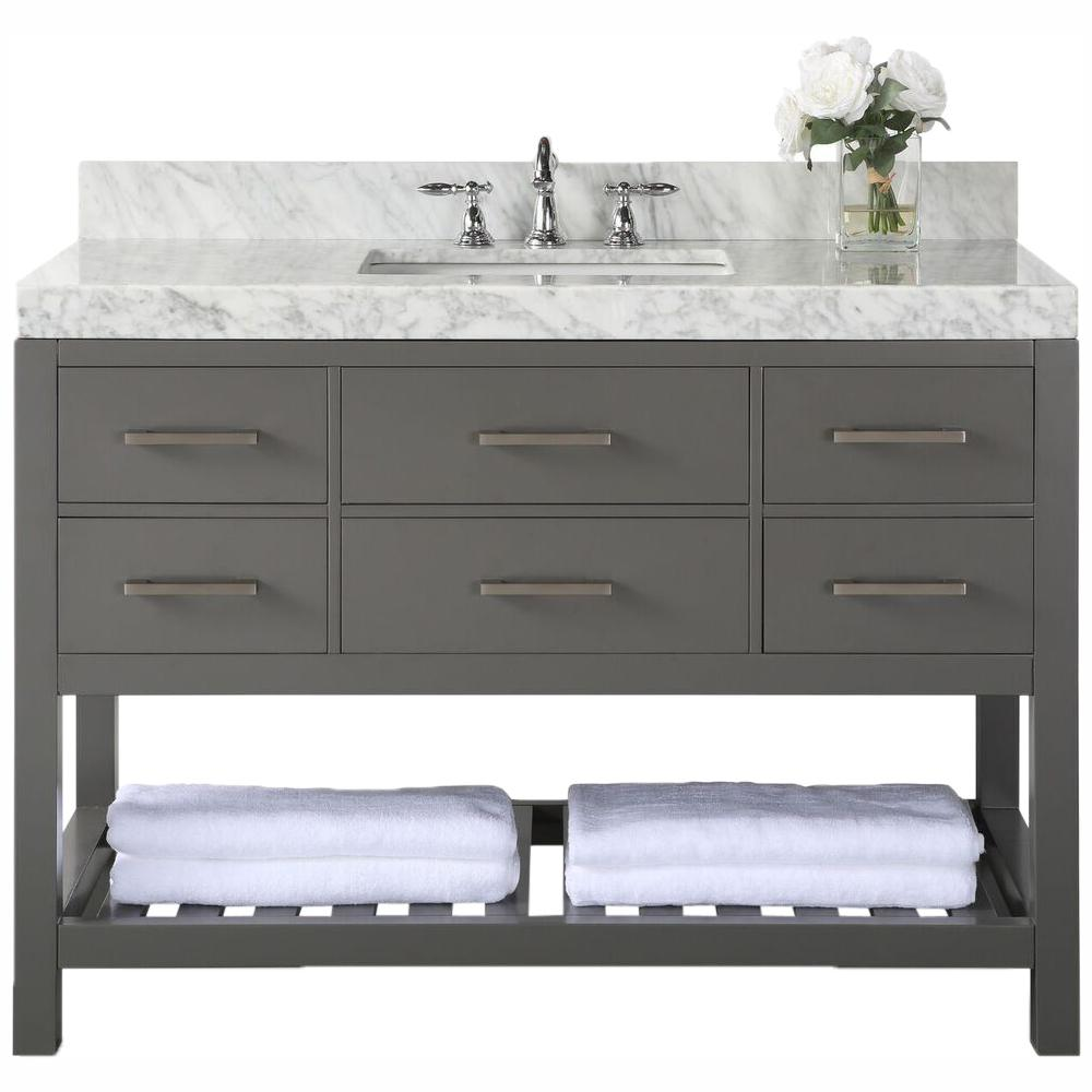 Ancerre Designs Elizabeth 48 in. W x 22 in. D Vanity in Sapphire Gray with Marble Vanity Top in Carrera White with White Basin