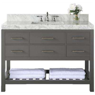 Elizabeth 48 in. W x 22 in. D Vanity in Sapphire Gray with Marble Vanity Top in Carrera White with White Basin