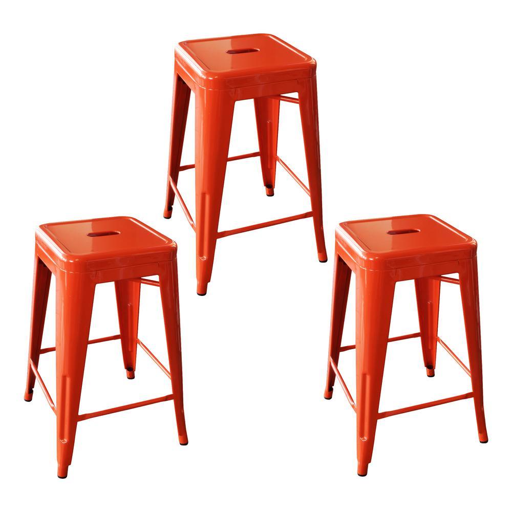 Loft Style 24 in. Stackable Metal Bar Stool in Orange (Set of 3)