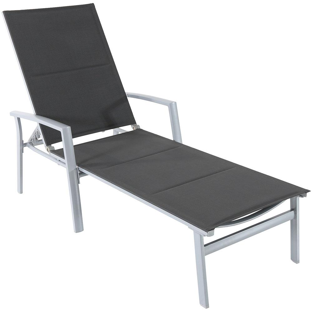 Cambridge aluminum outdoor chaise lounge with padded sling for Chaise aluminium
