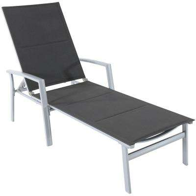 Aluminum Outdoor Chaise Lounge with Padded Sling in Gray