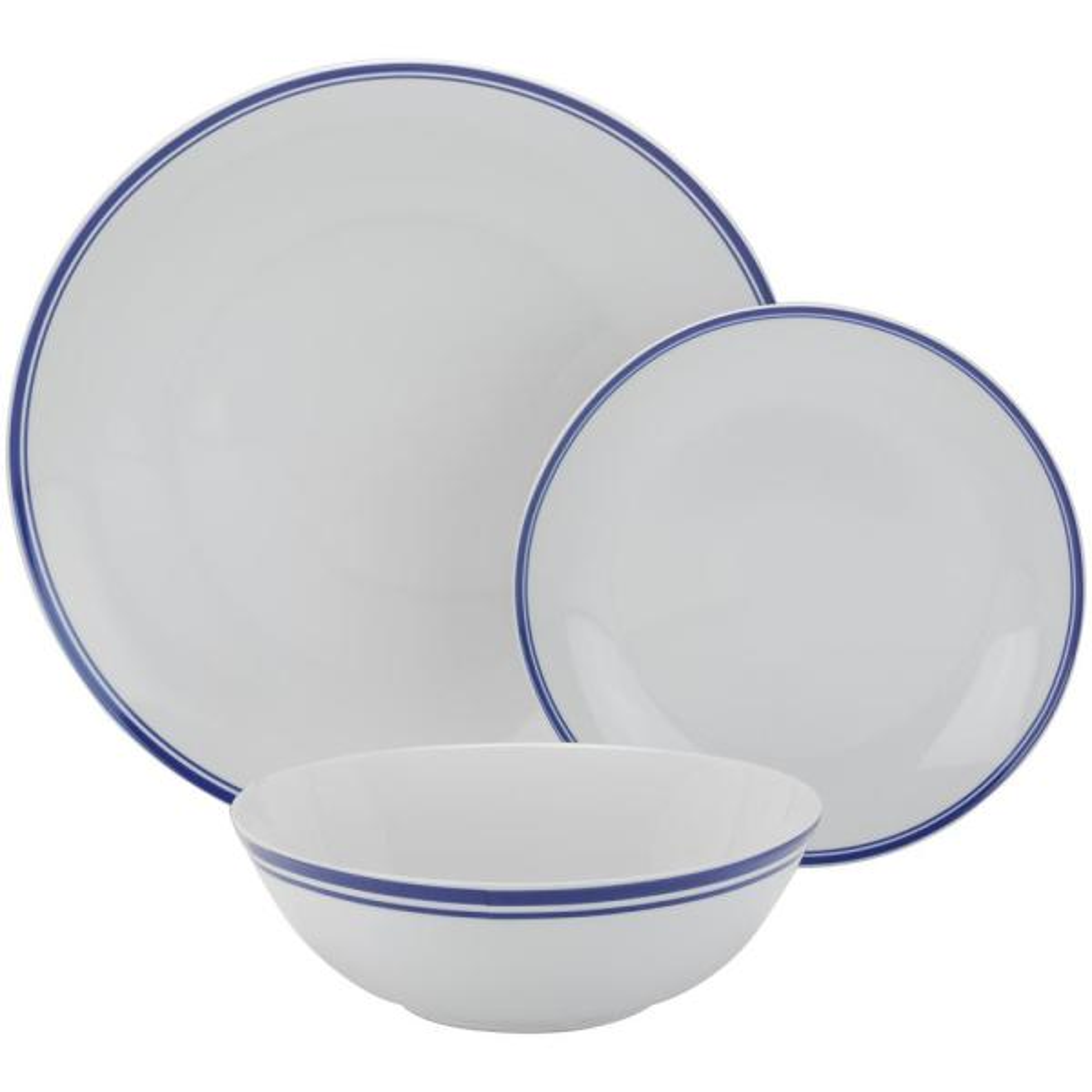 10 Strawberry Street 12-Piece Blue Coupe Dinnerware Set SM-1200-CP-B