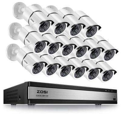 16-Channel 1080p DVR Security Camera System with 16 Wired Bullet Cameras No Hard Drive