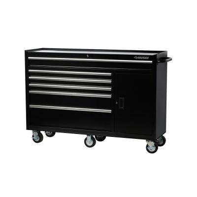 61 in. W x 18 in. D x 6-Drawer Tool Chest Rolling Cabinet in Black