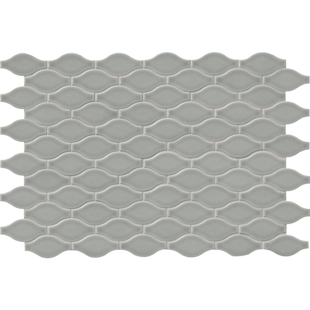 MSI Morning Fog Ogee Gray 11.22 in. x 14.37 in. x 8mm Glossy Ceramic Mesh-Mounted Mosaic Tile (11.20 sq. ft. / case)