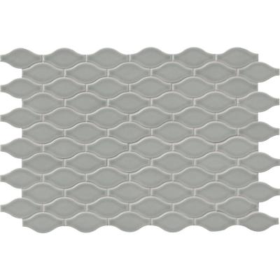 Morning Fog Ogee Gray 11.22 in. x 14.37 in. x 8mm Glossy Ceramic Mesh-Mounted Mosaic Tile (11.20 sq. ft. / case)