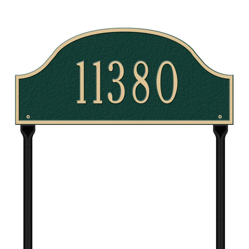 Admiral Standard Arch Green/Gold Lawn One Line Address Plaque