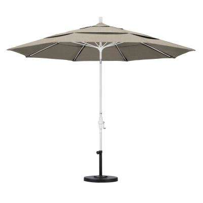11 ft. Fiberglass Collar Tilt Double Vented Patio Umbrella in Granite Olefin