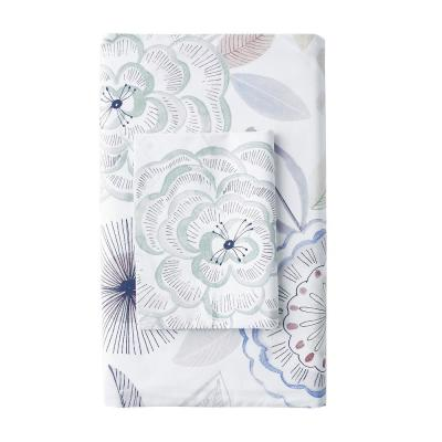Piper Floral Cotton Percale 300-Thread Count Fitted Sheet