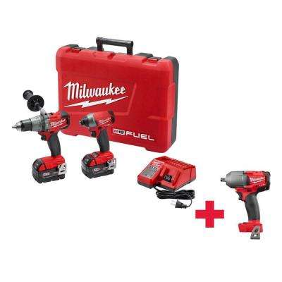 M18 FUEL 18-Volt Lithium-Ion Cordless Brushless Hammer Drill/Impact Driver Combo Kit W/ Free M18 1/2 in. Impact Wrench