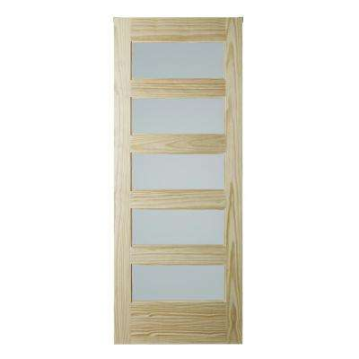 37 in. x 84 in. 5-Lite Frosted Unfinished Clear Pine Interior Barn Door Slab