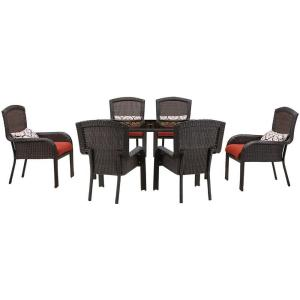 Hanover Strathmere 7-Piece All-Weather Wicker Rectangular Patio Dining Set with Crimson... by Hanover