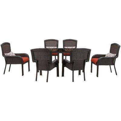 Strathmere 7-Piece All-Weather Wicker Rectangular Patio Dining Set with Crimson Red Cushions