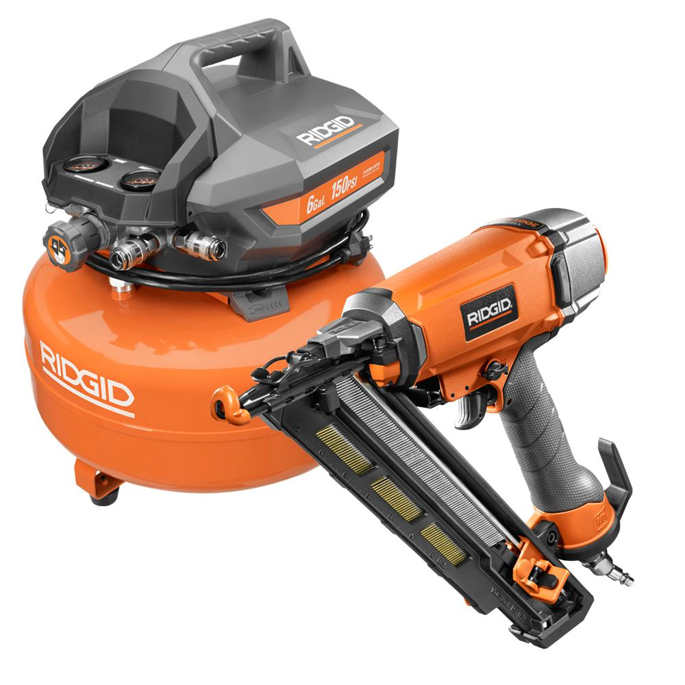 RIDGID 6 Gal. Electric Pancake Air Compressor With 15-Gauge 2-1/2 in. Angled Finish Nailer