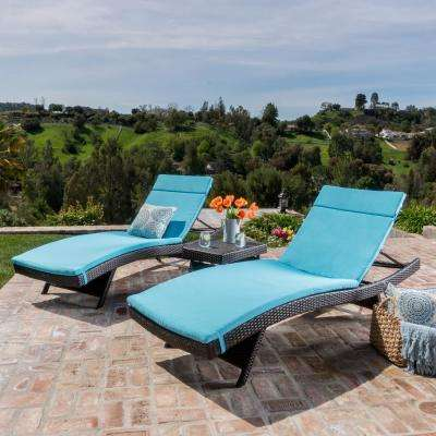 Salem Multi-Brown 5-Piece Wicker Outdoor Chaise Lounge with Blue Cushions
